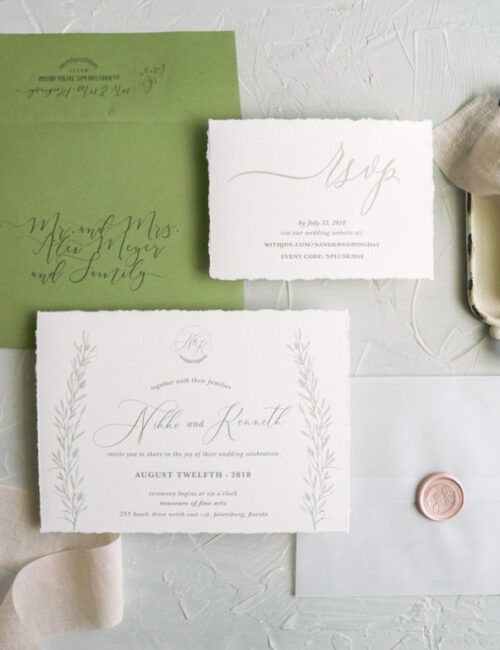 Hand-torn Tuscan Inspired Wedding Invitations | The Moxie Workshop