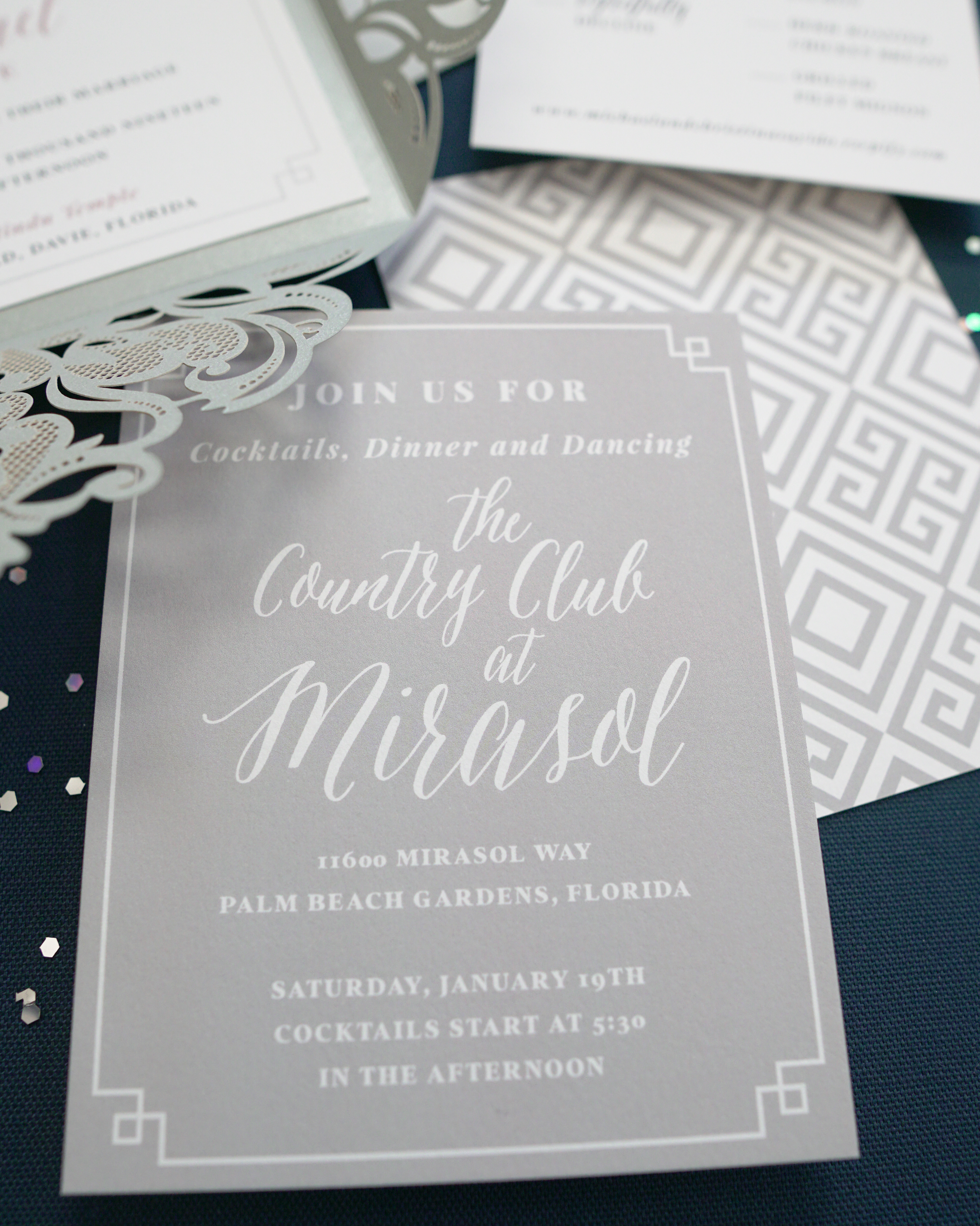 Modern Dusty Rose & Cool Grey Wedding Reception Card | The Moxie Workshop