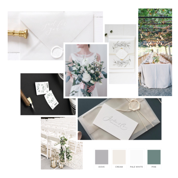 Organic Greenery Wedding Suite Style Board | The Moxie Workshop