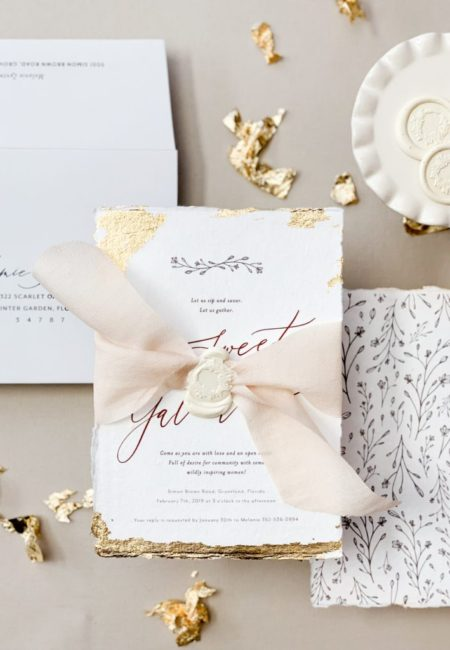 Handmade paper with gold foil, wax seal, line art floral design envelope addressing | www.themoxieworkshop.com